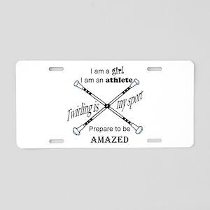 Twirling Athlete Aluminum License Plate