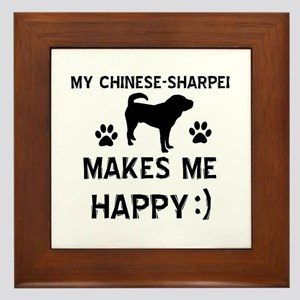 My Chinese Sharpei dog makes me happy Framed Tile