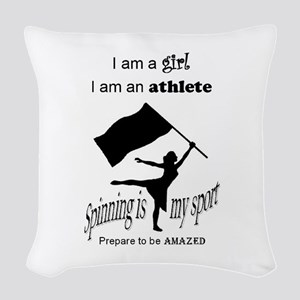 Spinning Athlete Woven Throw Pillow