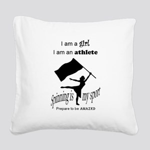 Spinning Athlete Square Canvas Pillow