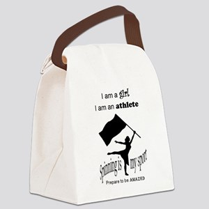 Spinning Athlete Canvas Lunch Bag