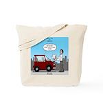 Smart Car vs Dumb Guy Tote Bag