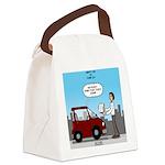 Smart Car vs Dumb Guy Canvas Lunch Bag