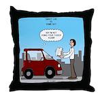 Smart Car vs Dumb Guy Throw Pillow