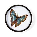 Blue Moth Wall Clock