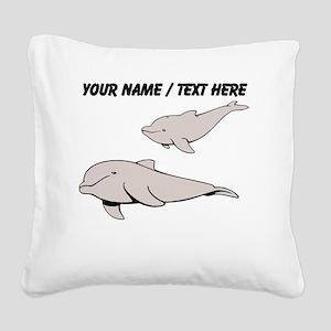 Custom Beluga Whales Square Canvas Pillow