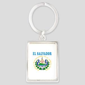 El Salvador Coat Of Arms Designs Portrait Keychain