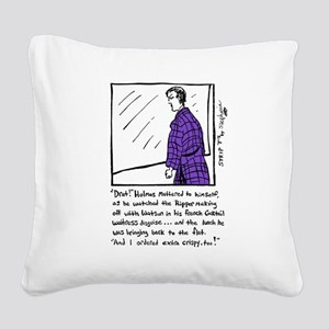 Sherlock Holmes Ponders Lunch Square Canvas Pillow