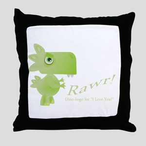 Rawr Dino Love Throw Pillow