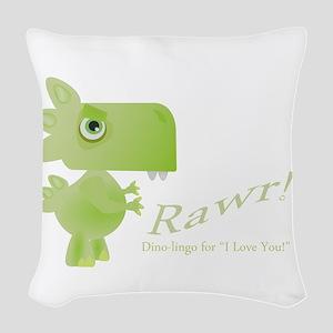 Rawr Dino Love Woven Throw Pillow