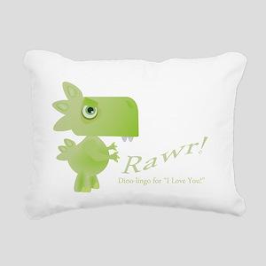 Rawr Dino Love Rectangular Canvas Pillow