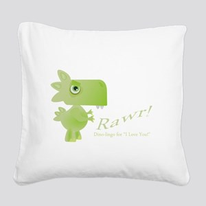 Rawr Dino Love Square Canvas Pillow