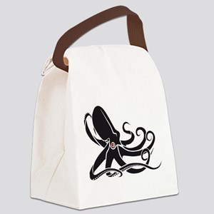 Black Octopus Canvas Lunch Bag
