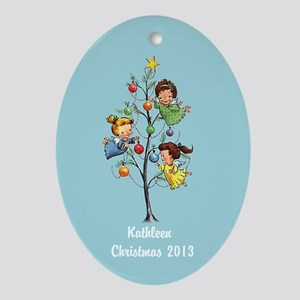 Personalized Retro Angels with Tree Ornament