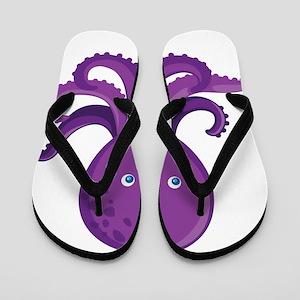 Purple Octopus Flip Flops