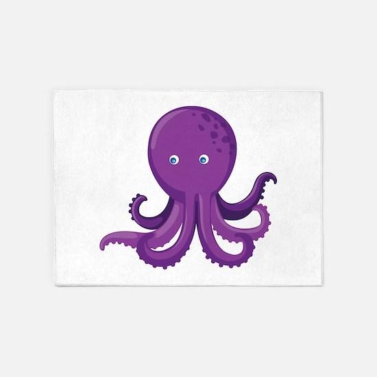 Purple Octopus 5'x7'Area Rug
