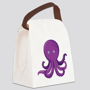 Purple Octopus Canvas Lunch Bag
