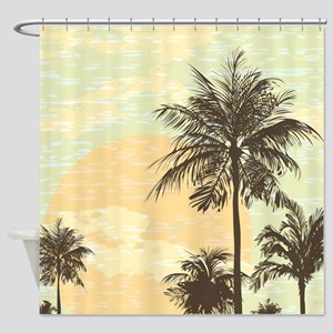 Pretty Serene Sunset and Palm Trees Scene Shower C