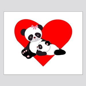Panda Baby And Mother Heart Poster Design