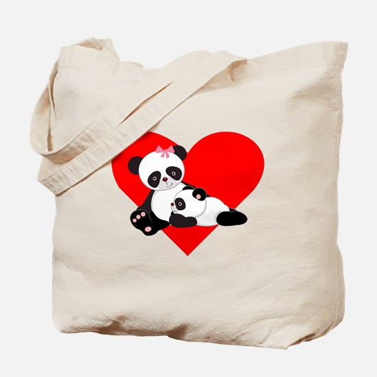 Panda Baby And Mother Heart Tote Bag