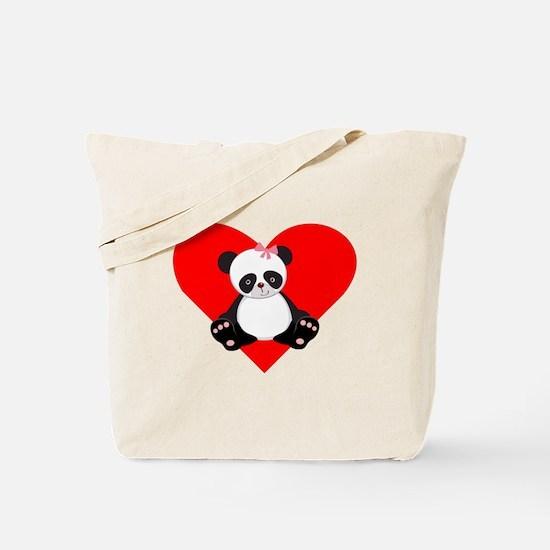 Girl Panda Heart Tote Bag