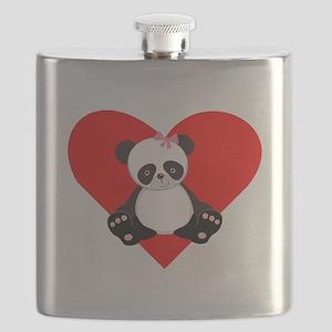 Girl Panda Heart Flask