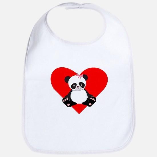 Girl Panda Heart Bib