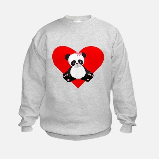 Girl Panda Heart Sweatshirt