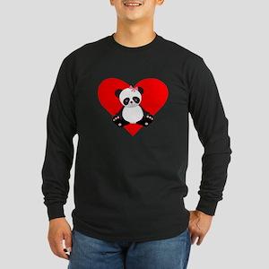 Girl Panda Heart Long Sleeve T-Shirt