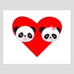 Panda Boy And Girl Heart Poster Design