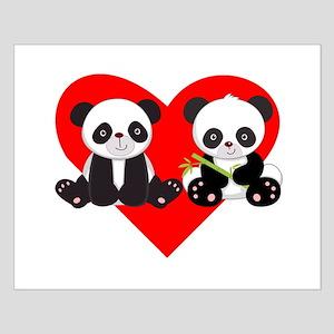 Cute Pandas Heart Poster Design