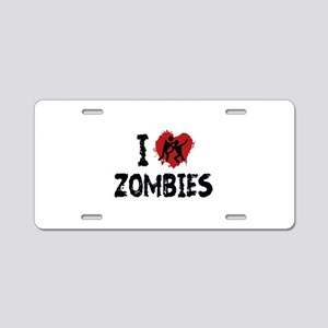 I Love Zombies Aluminum License Plate