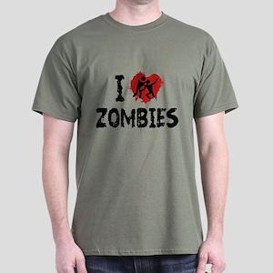 I Love Zombies Dark T-Shirt