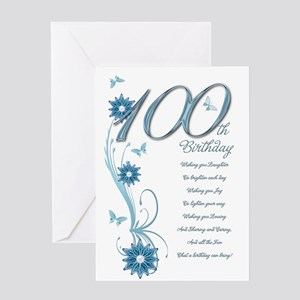100th Birthday In Teal Greeting Card