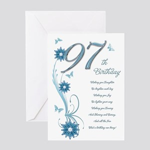 97th birthday in teal Greeting Card