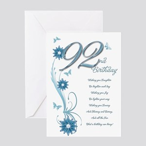 92nd birthday in teal Greeting Card