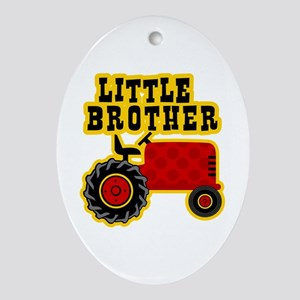 Red Tractor Little Brother Ornament (Oval)
