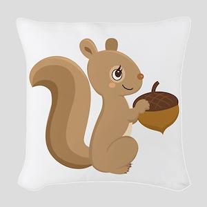 Cartoon Squirrel Woven Throw Pillow