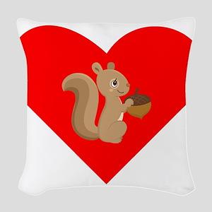 Squirrel Heart Woven Throw Pillow