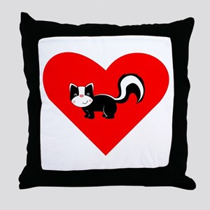 Skunk Heart Throw Pillow