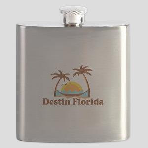 Destin Florida - Palm Tees Design. Flask