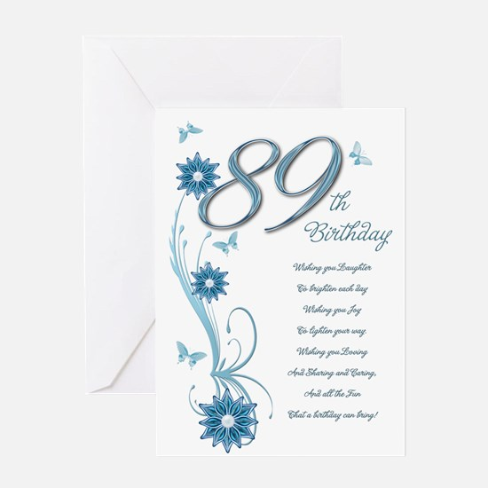 89th birthday in teal Greeting Card