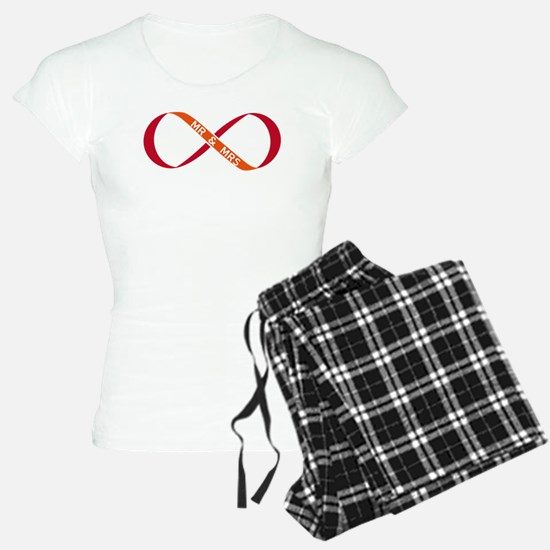 red infinity sign with Mr & Mrs Pajamas