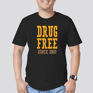 Drug Free Since 2003 Men's Fitted T-Shirt (dark)