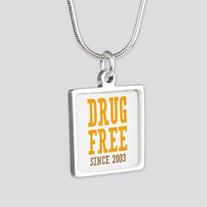 Drug Free Since 2003 Silver Square Necklace