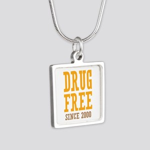 Drug Free Since 2000 Silver Square Necklace