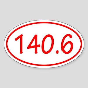 Red 140.6 Oval Sticker