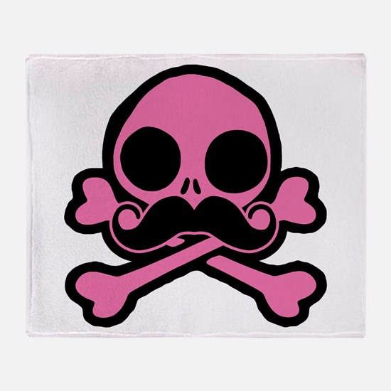 Pink Skull With Moustache Throw Blanket
