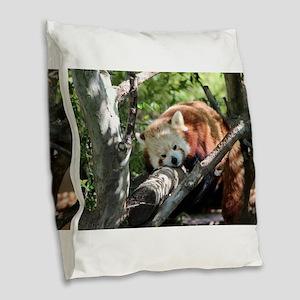 Sleepy Red Panda Burlap Throw Pillow
