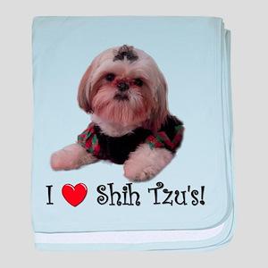 I Love Shih Tzu baby blanket